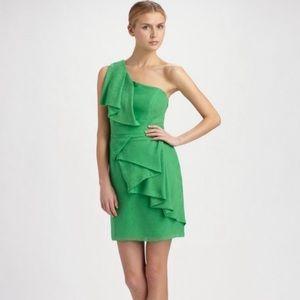 Shoshanna Green 100% Silk One Shoulder Dress 10